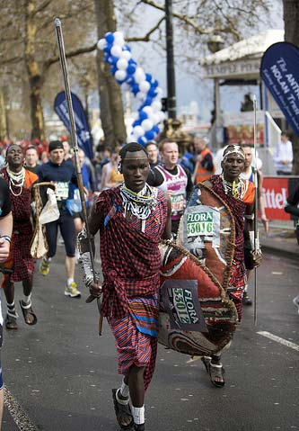 African warriors running marathon