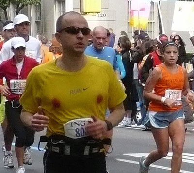 Man running with bloody nipples