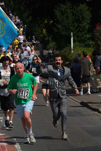 Borat runs in a marathon