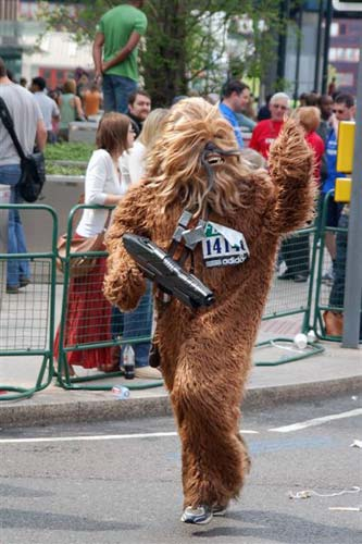Chewbacca running in street