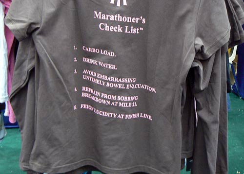 T-shirt with marathon check list