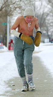 cold weather man running on ice and snow