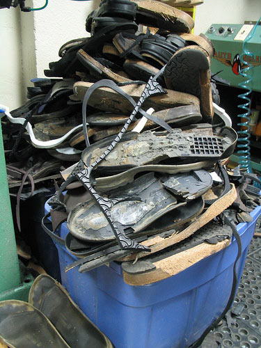 Recycling shoe soles