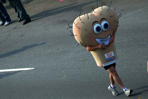 Testicles costume in NYC marathon