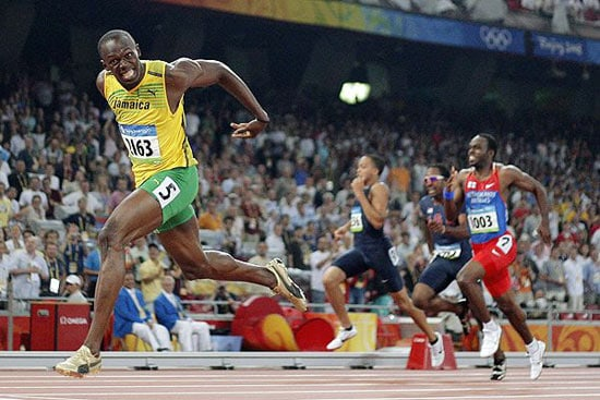Usain Bolt celebrates after setting 200m world record at Beijing Olympics